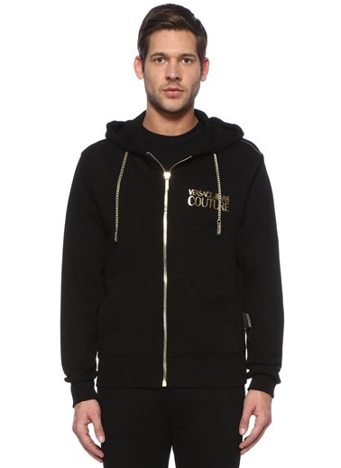 Versace Versace Jeans Couture  Kapüşonlu  Zincirli Logolu Sweatshirt 101497391 Siyah